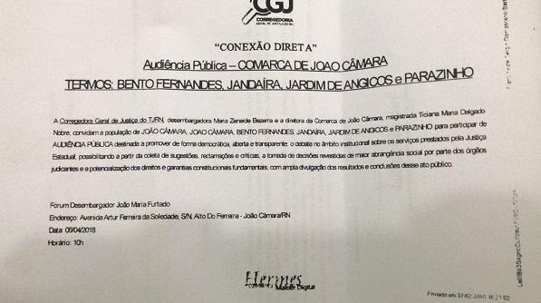 Resultado de imagem para Corregedoria Geral da Justiça realizará Audiência Pública em João Câmara para debater sobre serviços prestados pela Justiça Estadual
